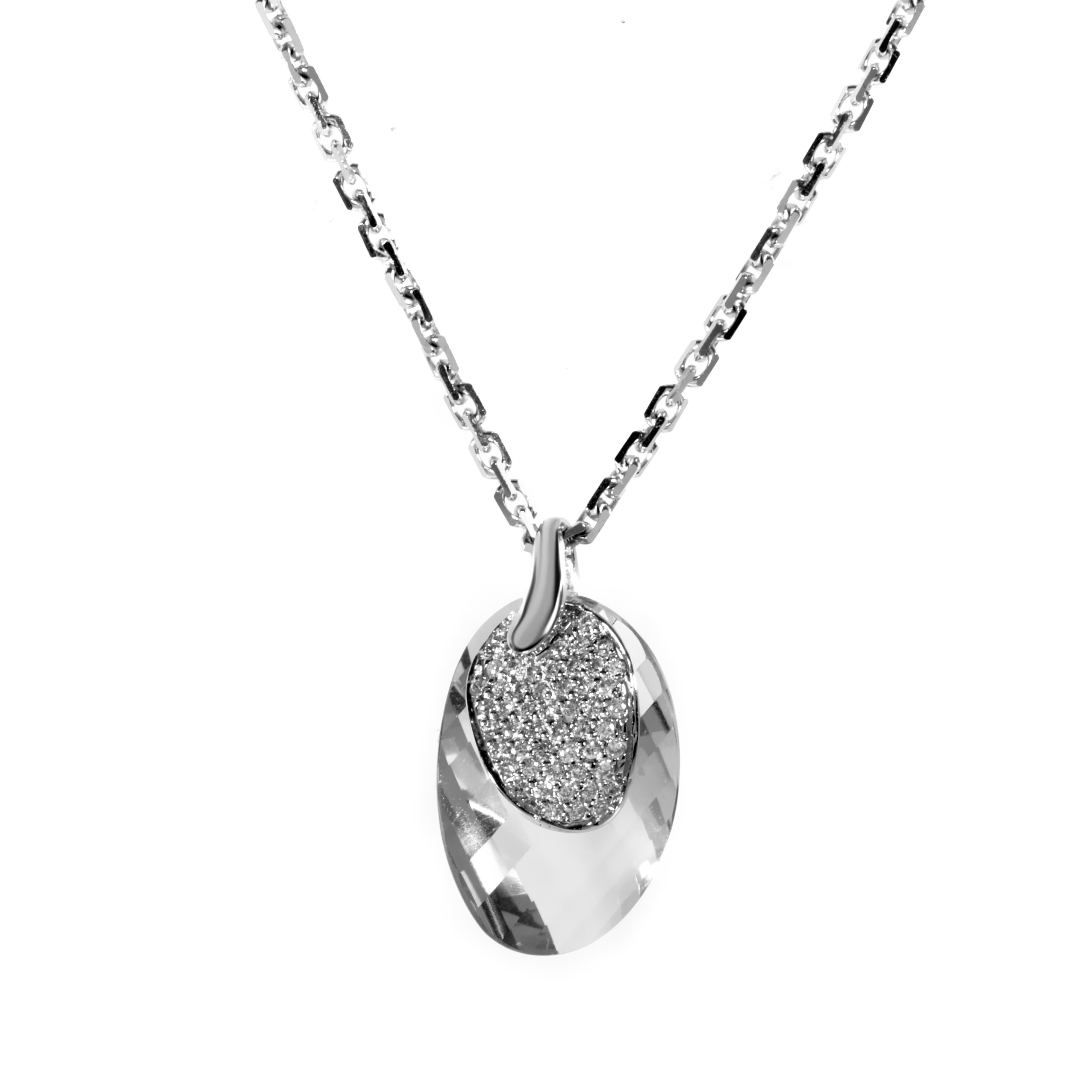 18K White Gold Diamond & Green Amethyst Gemstone Pendant Necklace PD8-021402WGA