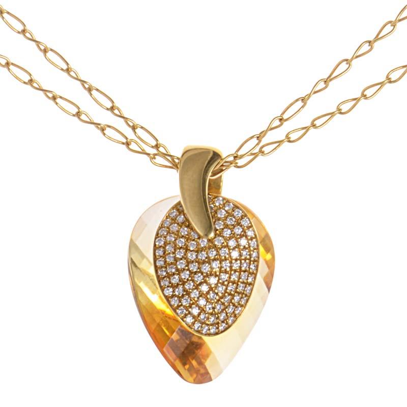 18K Yellow Gold Citrine & Diamond Pendant PD8-14573YG