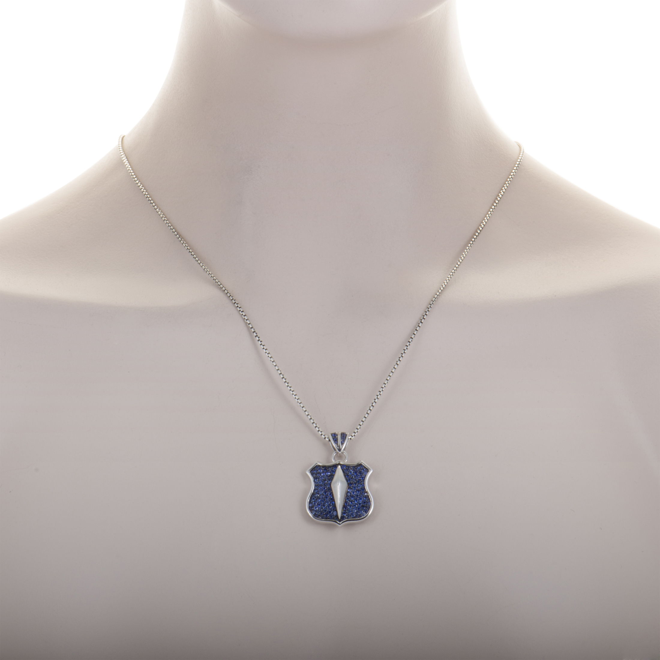 Stephen Webster Highwayman Mens Silver and Sapphire Pave Pendant Necklace