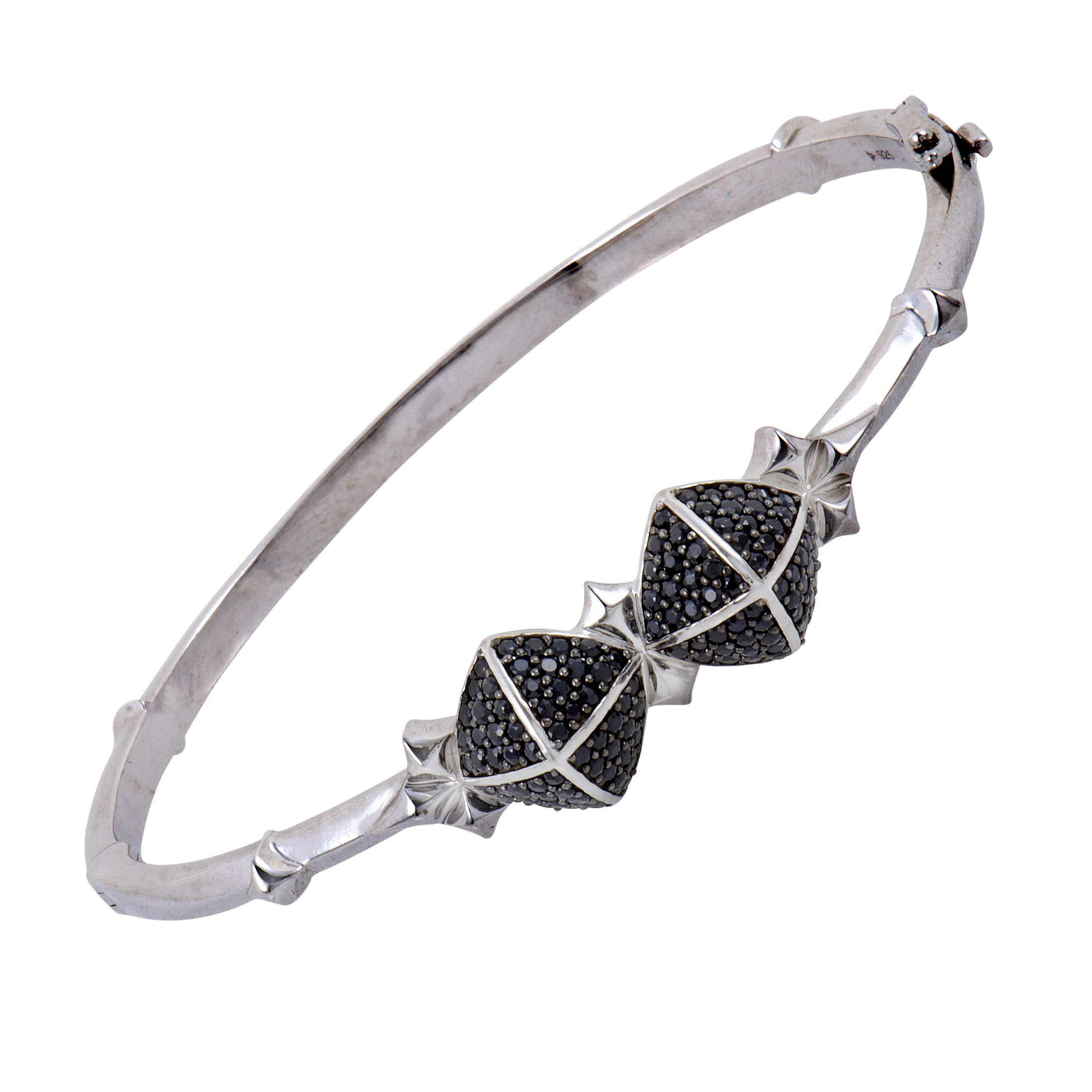 New Superstud Silver and Black Sapphire Studs Bangle Bracelet