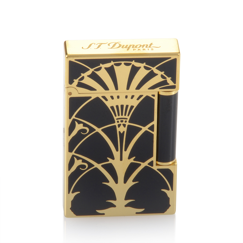 S T Dupont Ligne 2 American Art Deco Gold Finish Lighter