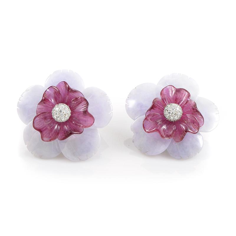 Sabbadini 18K White Gold Diamond and Gemstone Flower Clip-On Earrings