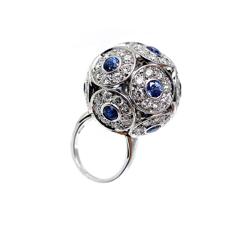 Brilliant 18K White Gold Diamond Sapphire Ball Ring