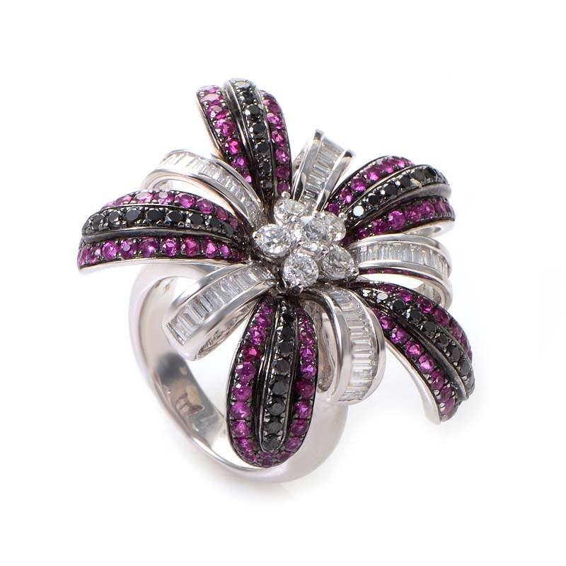 18K White Gold Pink Sapphire & Multi Diamond Ring