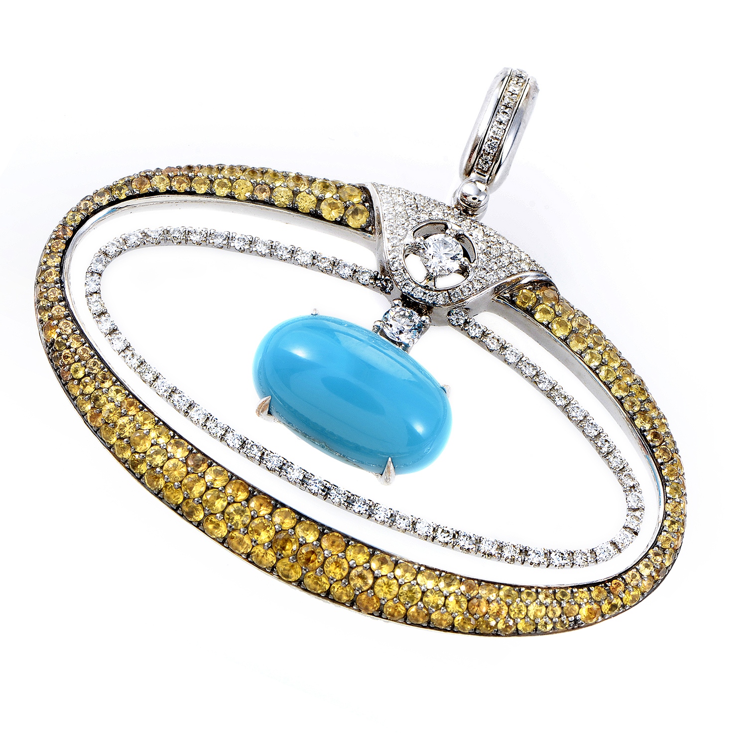women's 18K White Gold Turquoise & Multi-Diamond Pendant