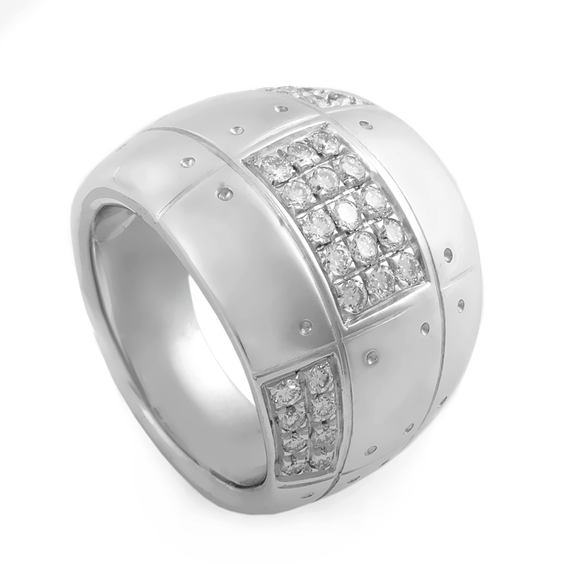 Wide 18K White Gold Diamond Band Ring