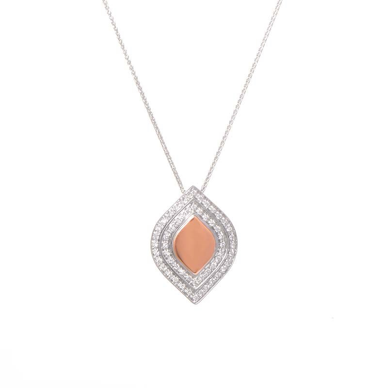18K White & Rose Gold Diamond Pendant Necklace