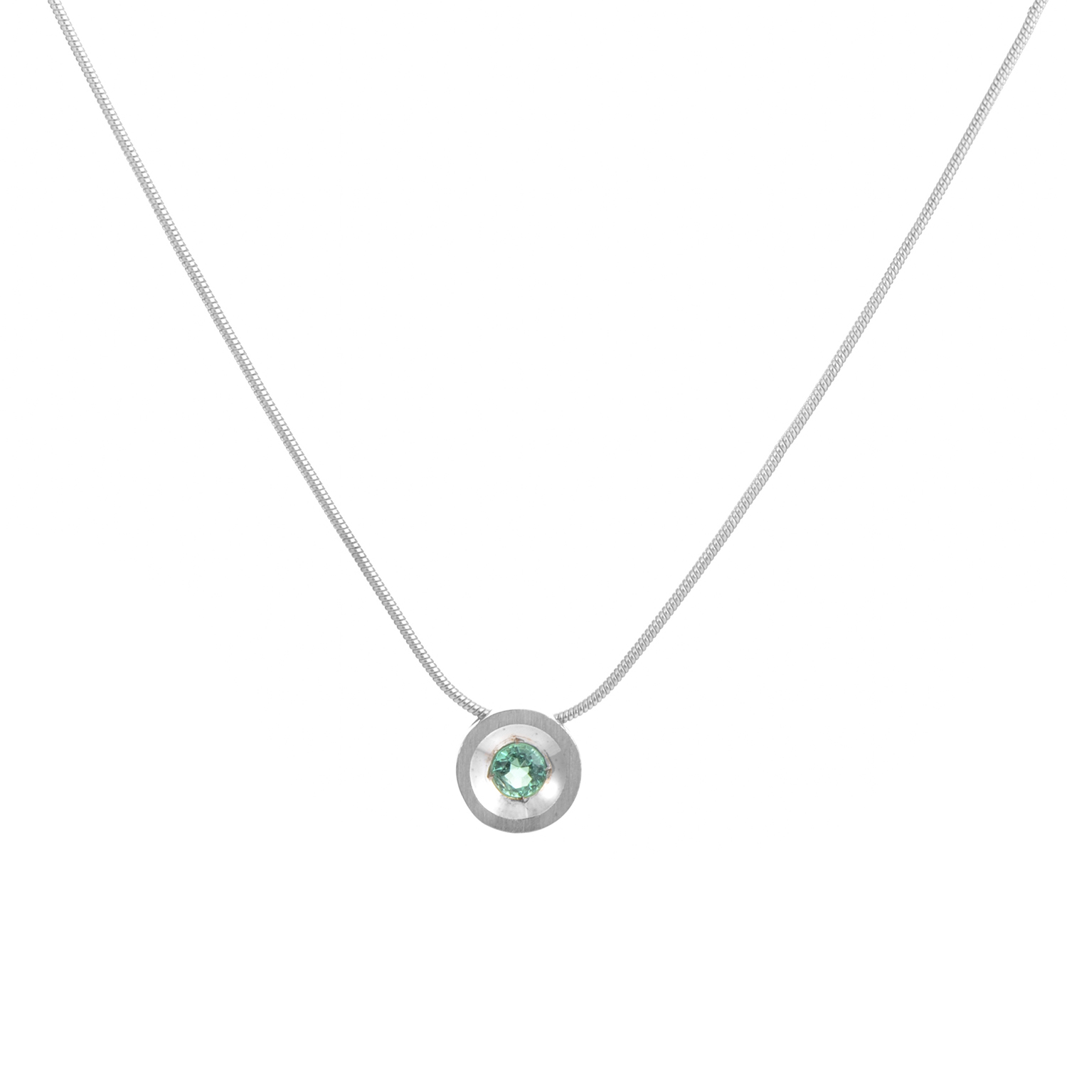 18K White Gold Emerald Pendant Necklace