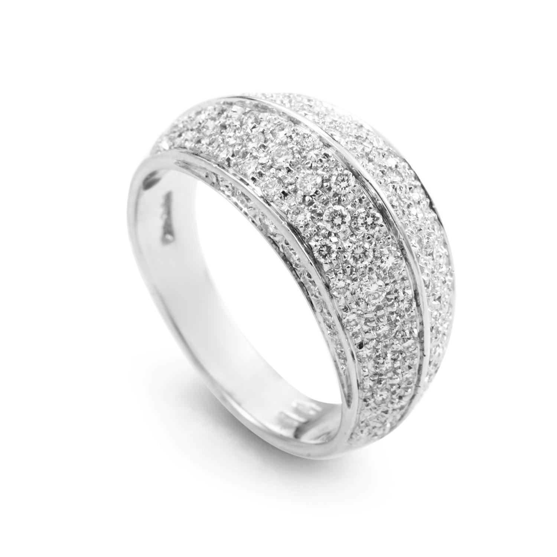18K White Gold Diamond Pave Band Ring