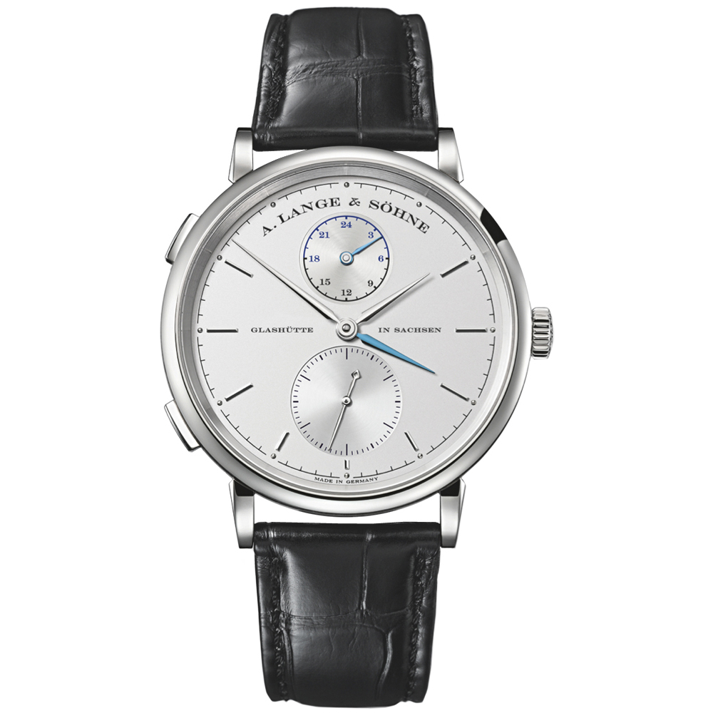 Saxonia Dual Time (WG / Silver / Leather Strap)