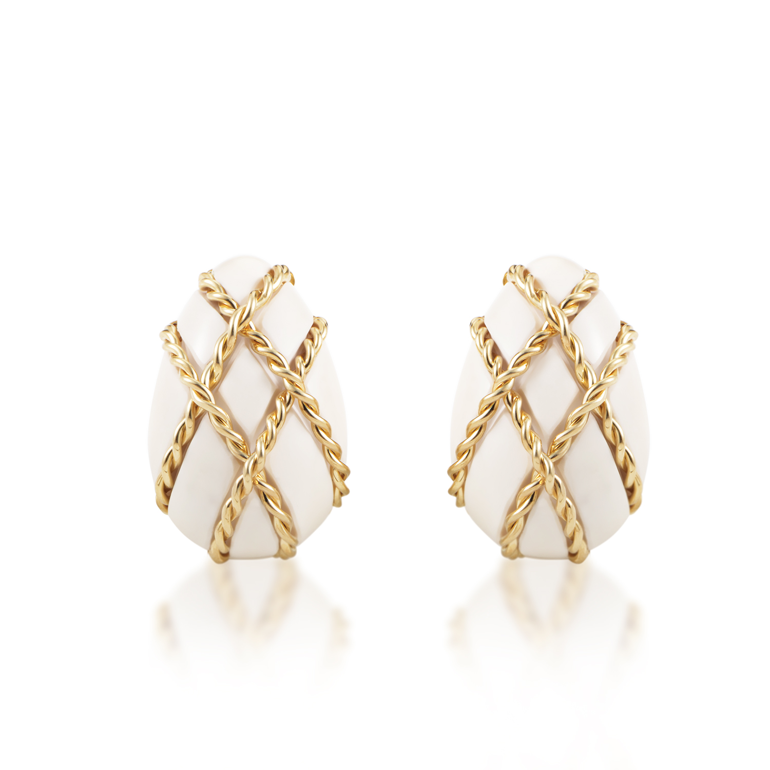 Seaman Schepps 18K Yellow Gold & White Coral Lattice Clip-on Earrings