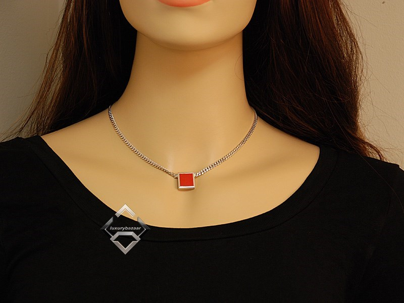 Silver Square Coral  Necklace  CA0109061