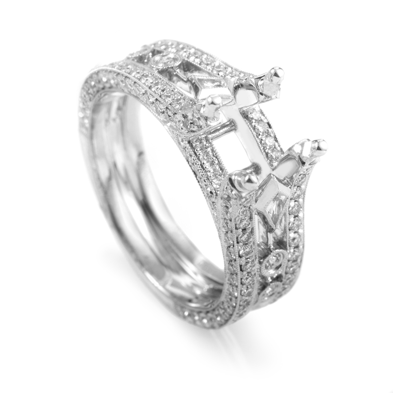 18K White Gold Diamond Pave Engagement Ring Mounting D011D111