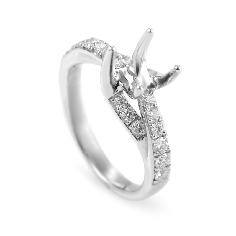 18K White Gold Diamond Engagement Ring Mounting DR237