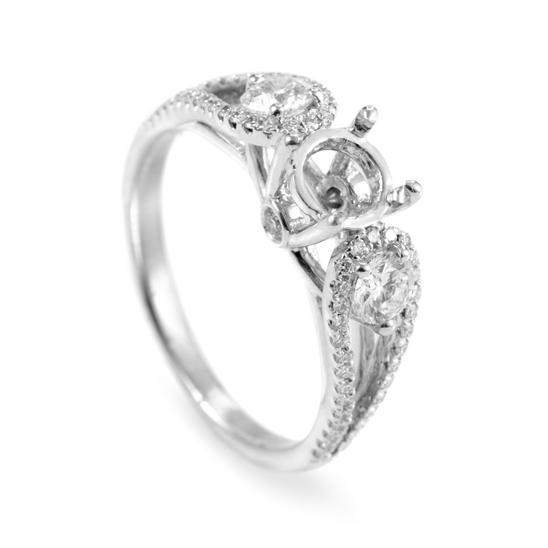 18K White Gold Diamond Engagement Ring Mounting LP2019