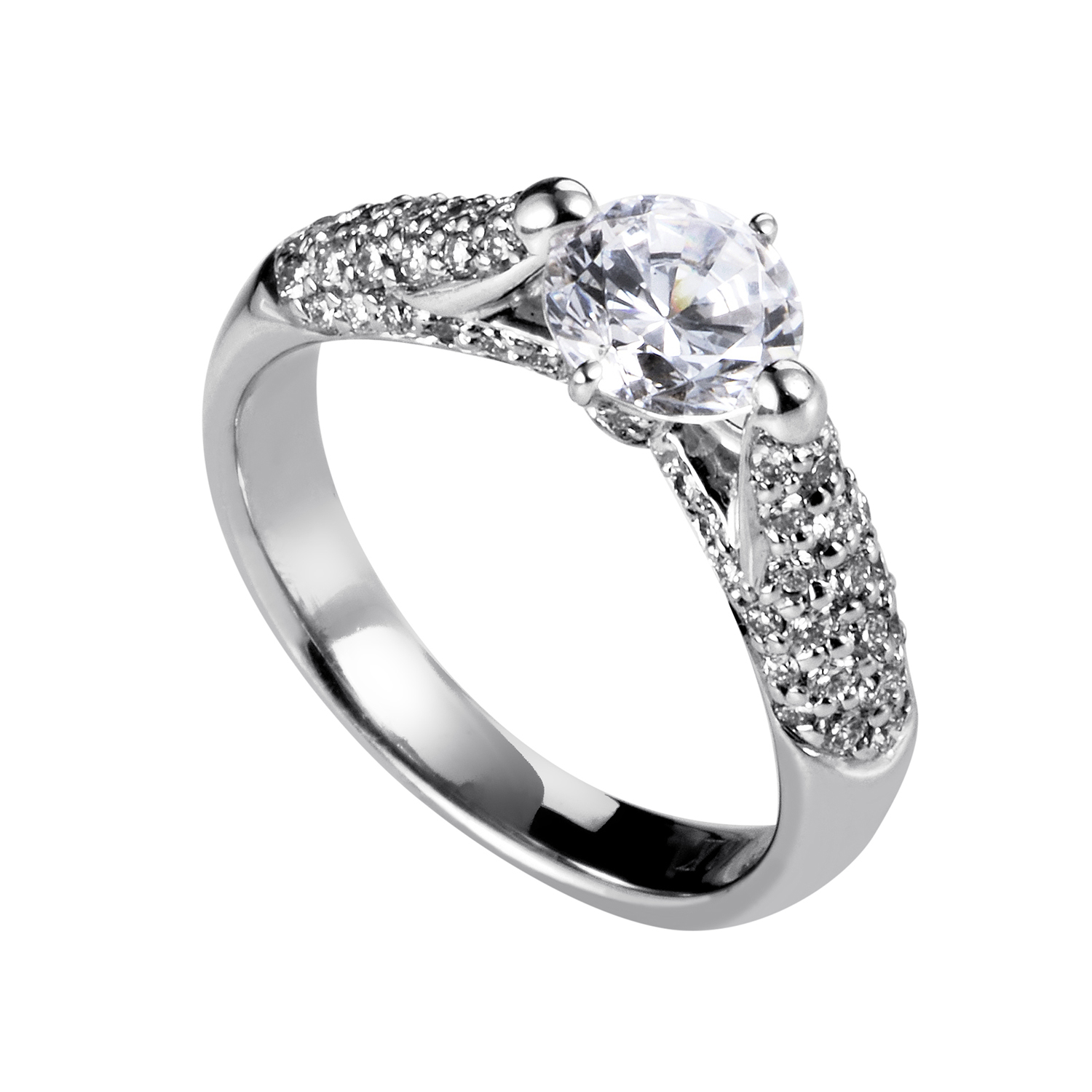 Women's 18K White Gold Diamond Engagement Ring SM8-051931