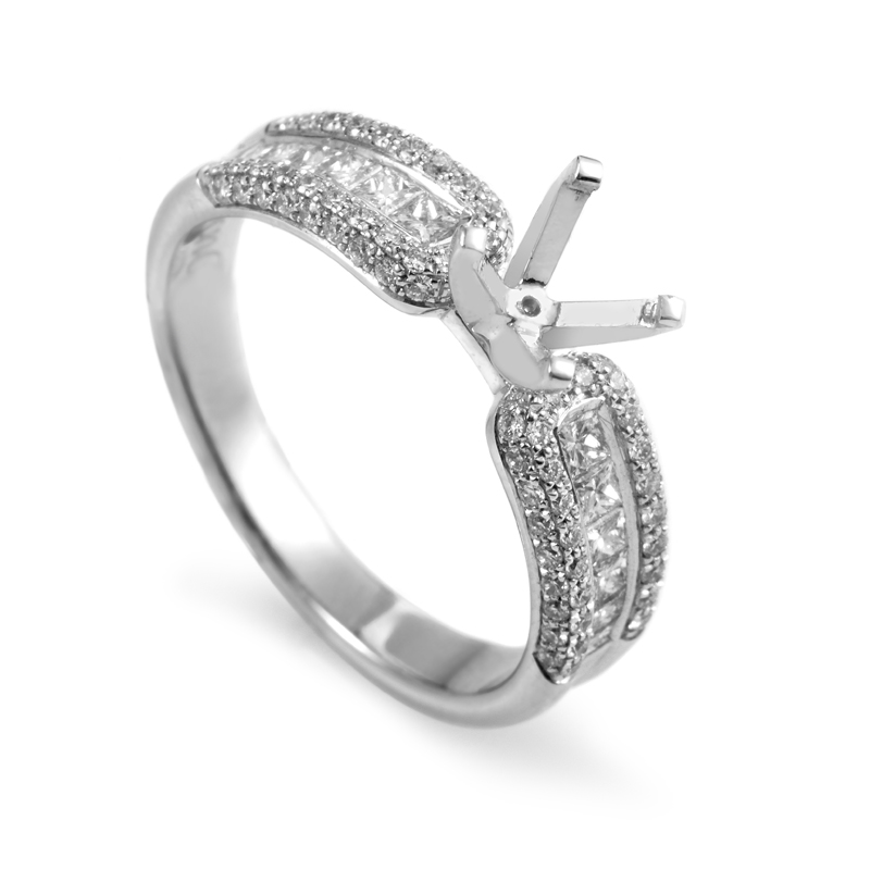 18K White Gold Diamond Engagement Ring Mounting OR174D