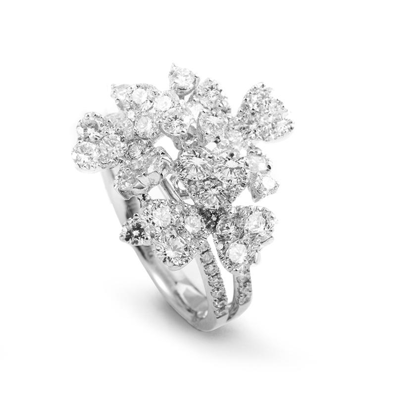 Women's 18K White Gold Floral Diamond Cluster Ring 21718630W