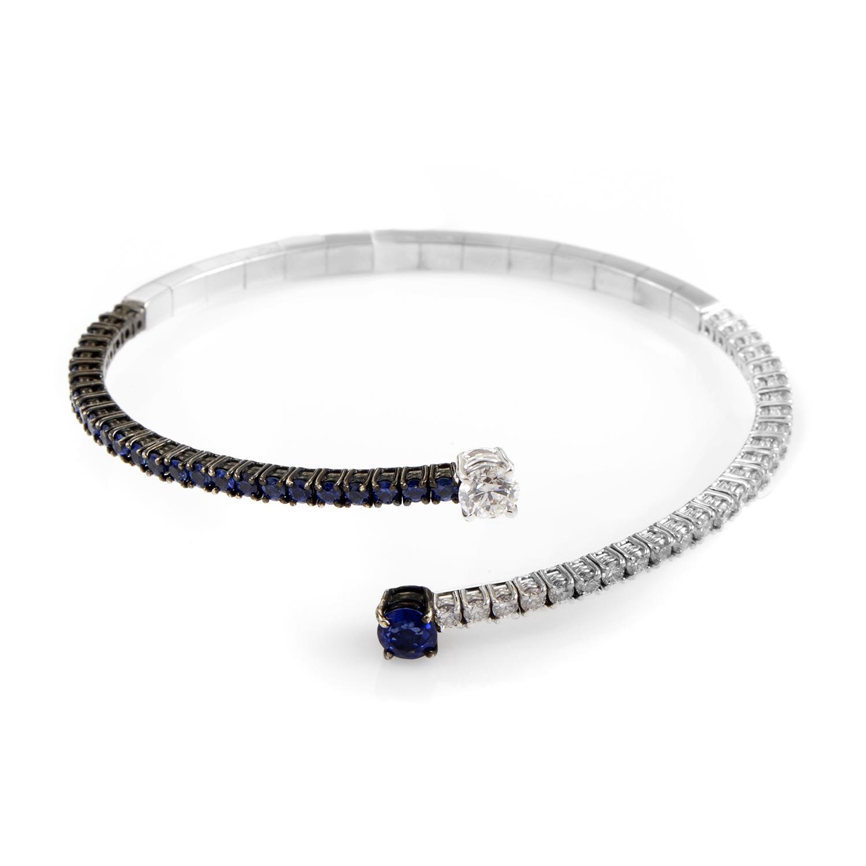 Stefan Hafner 18K White Gold Sapphire & Diamond Cuff