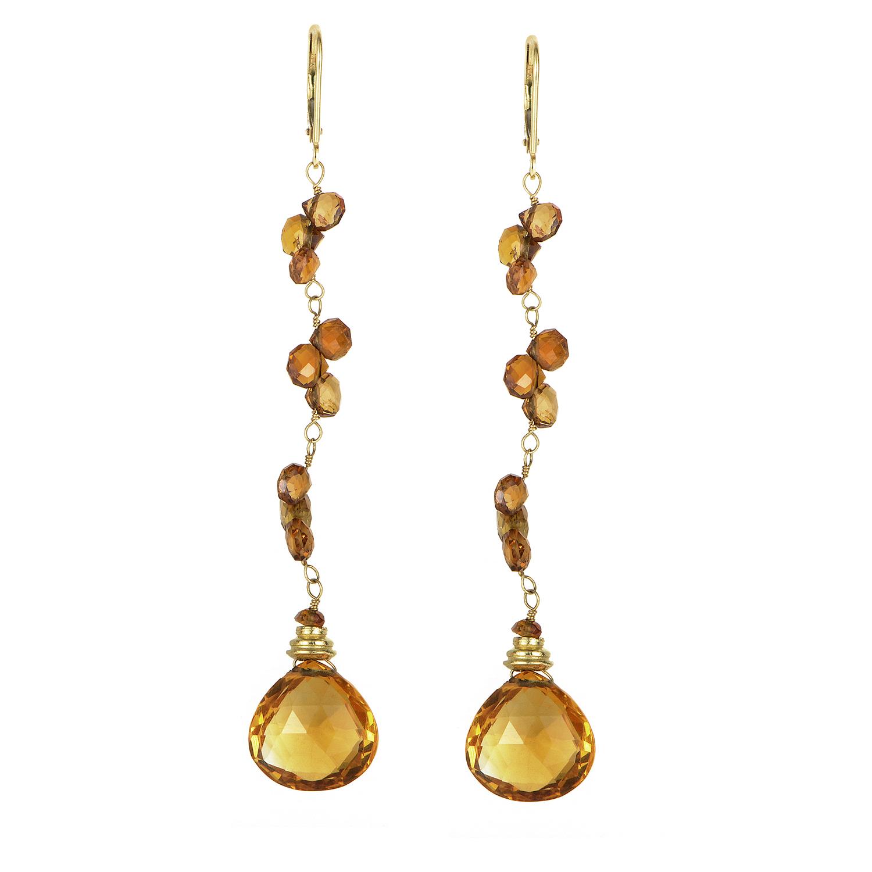 Stephen Dweck 18K Yellow Gold Citrine Dangle Earrings