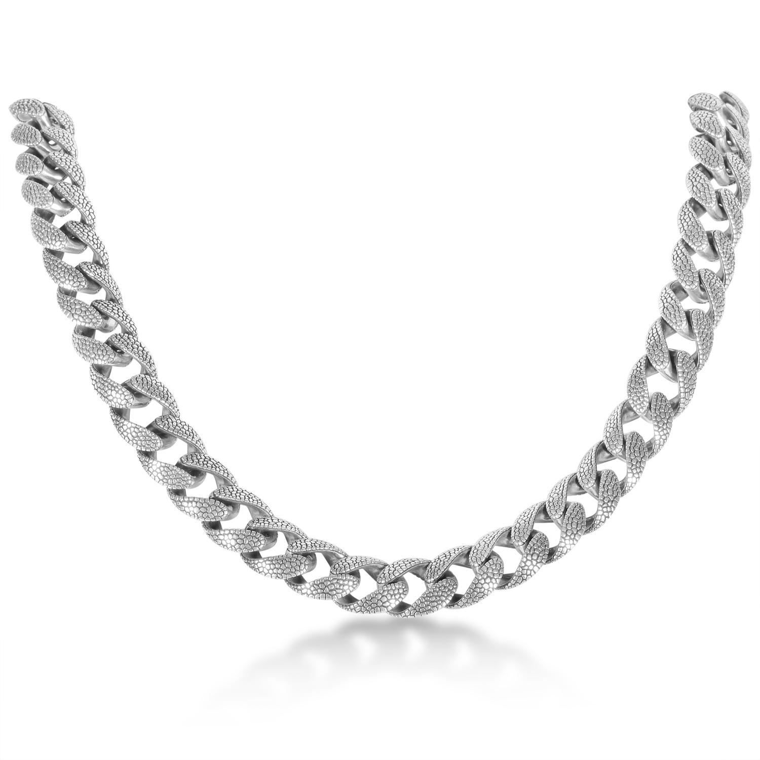 Women's Sterling Silver Rayskin Textured Chain Necklace