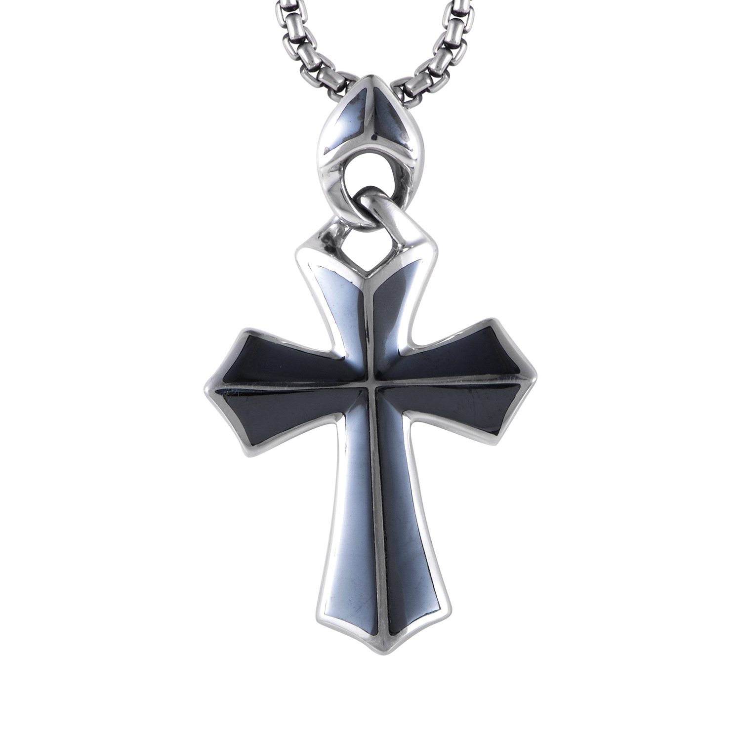 Mens Sterling Silver Hematite Cross Pendant Necklace 3005210