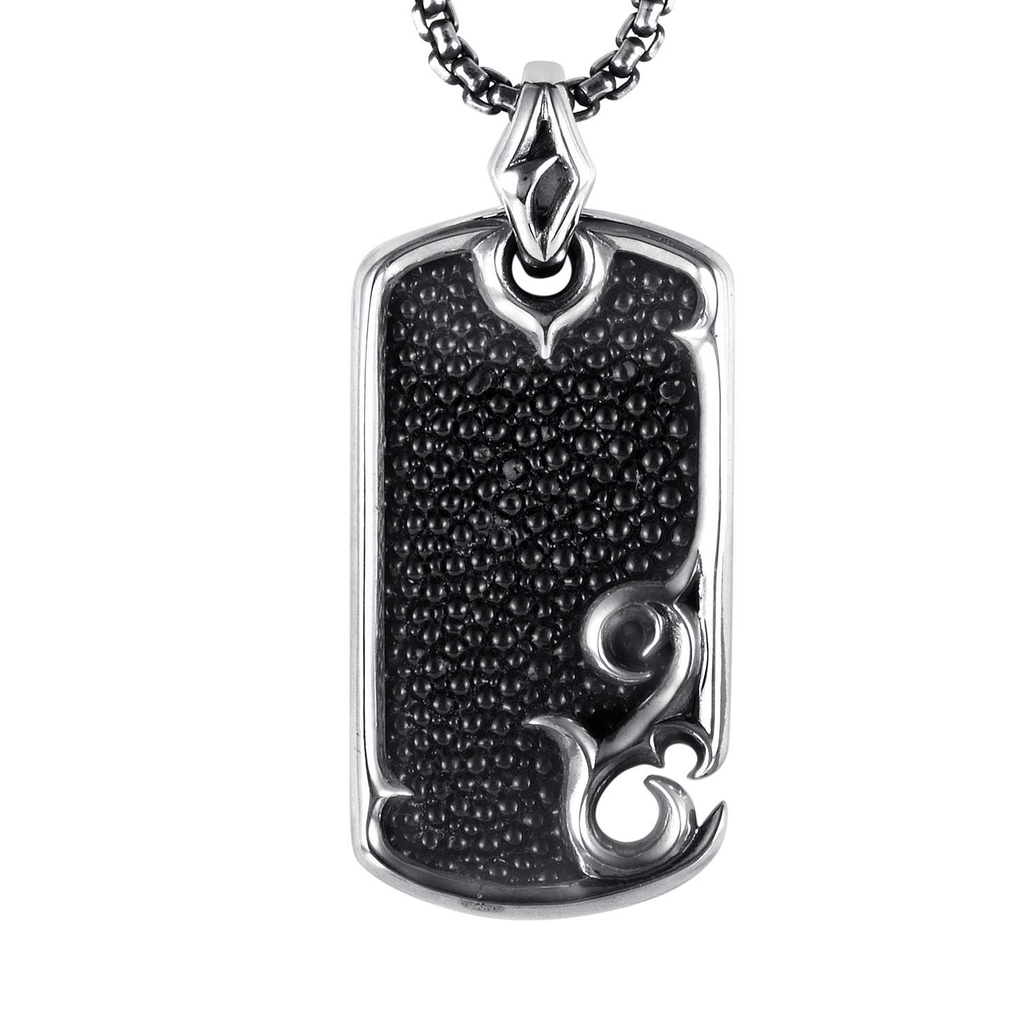 Sterling Silver Rayskin Textured Dog Tag Necklace
