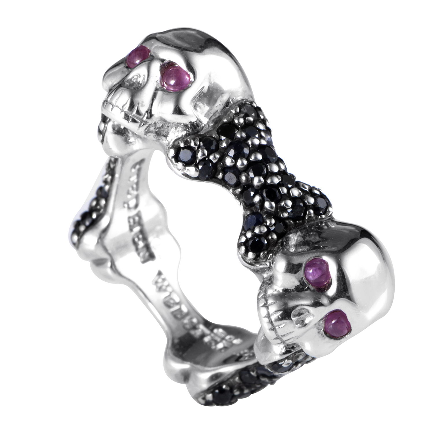 Skull and Bones Sterling Silver Ruby & Black Sapphire Band