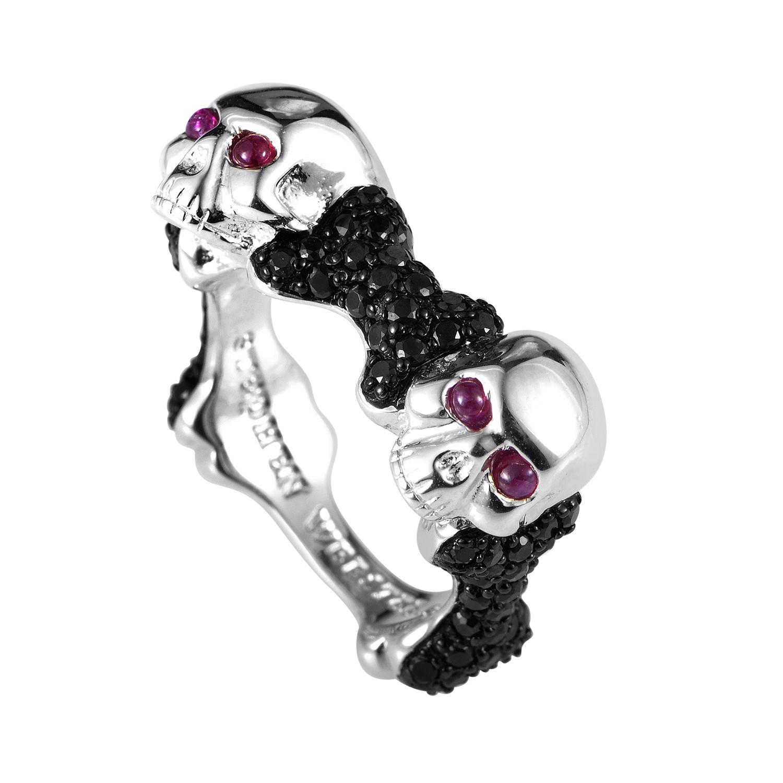Skull and Bones Men's Sterling Silver Black Sapphire & Ruby Ring