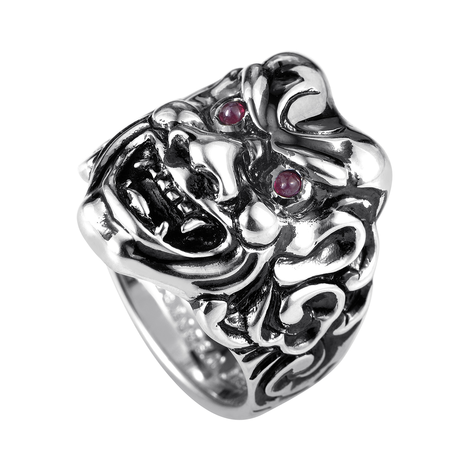 Sterling Silver & Ruby Japanese Warrior Mask Ring