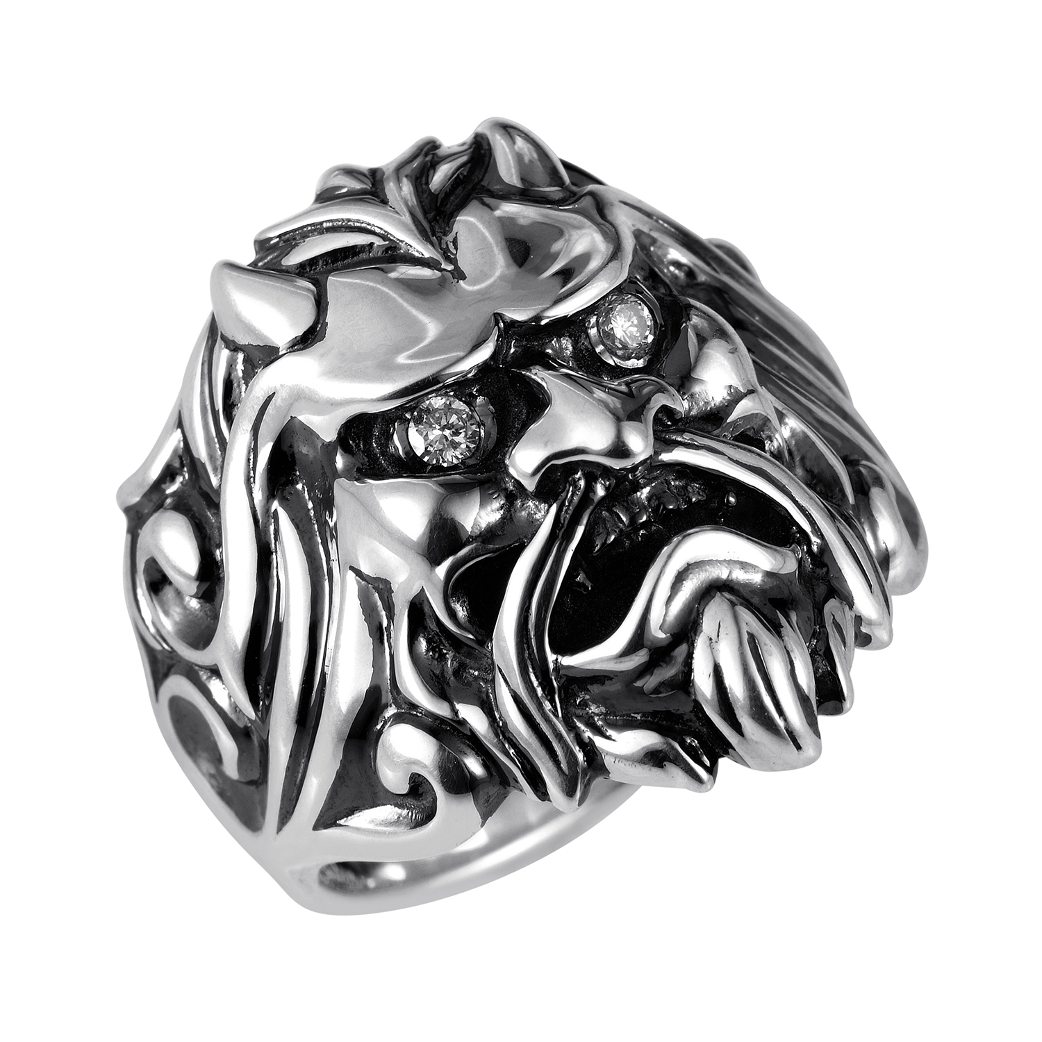 Sterling Silver & Diamond Japanese Warrior Mask Ring