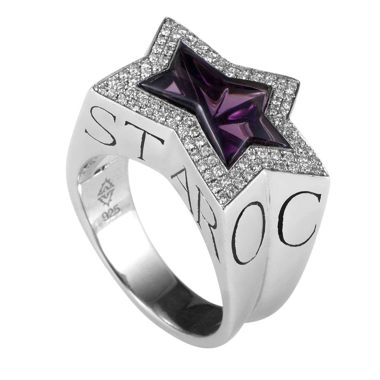Rockstar Sterling Silver Amethyst & Diamond Ring
