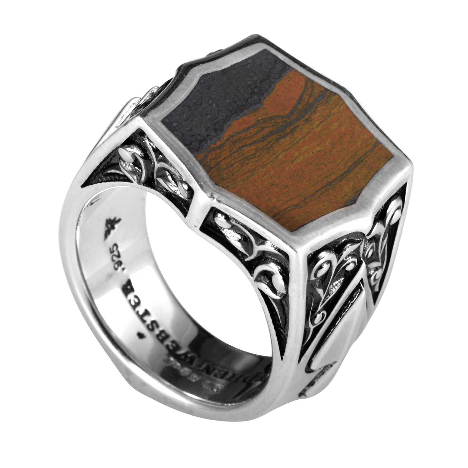 Sterling Silver Tiger Iron Ring