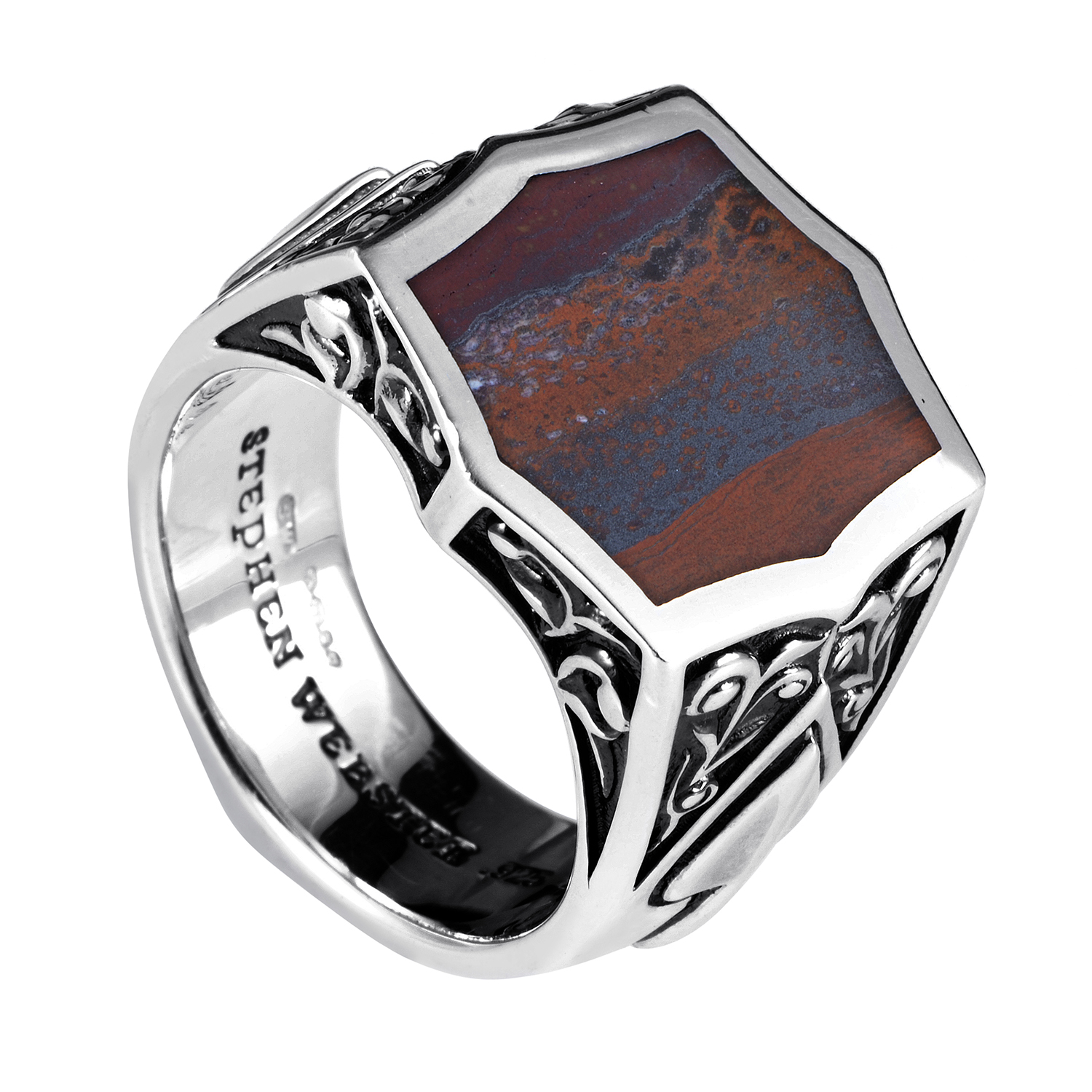 Ace Sterling Silver Tiger Iron Stone Ring 3005389