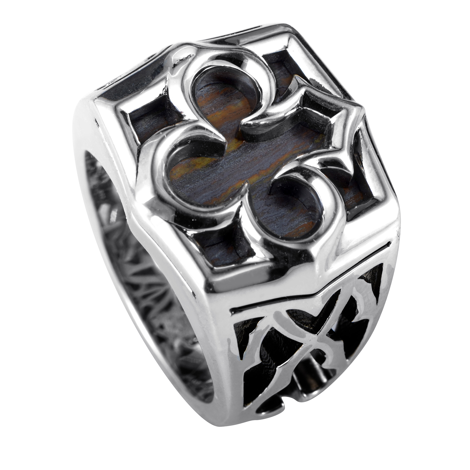 Sterling Silver Aces Tiger Iron Signet Ring