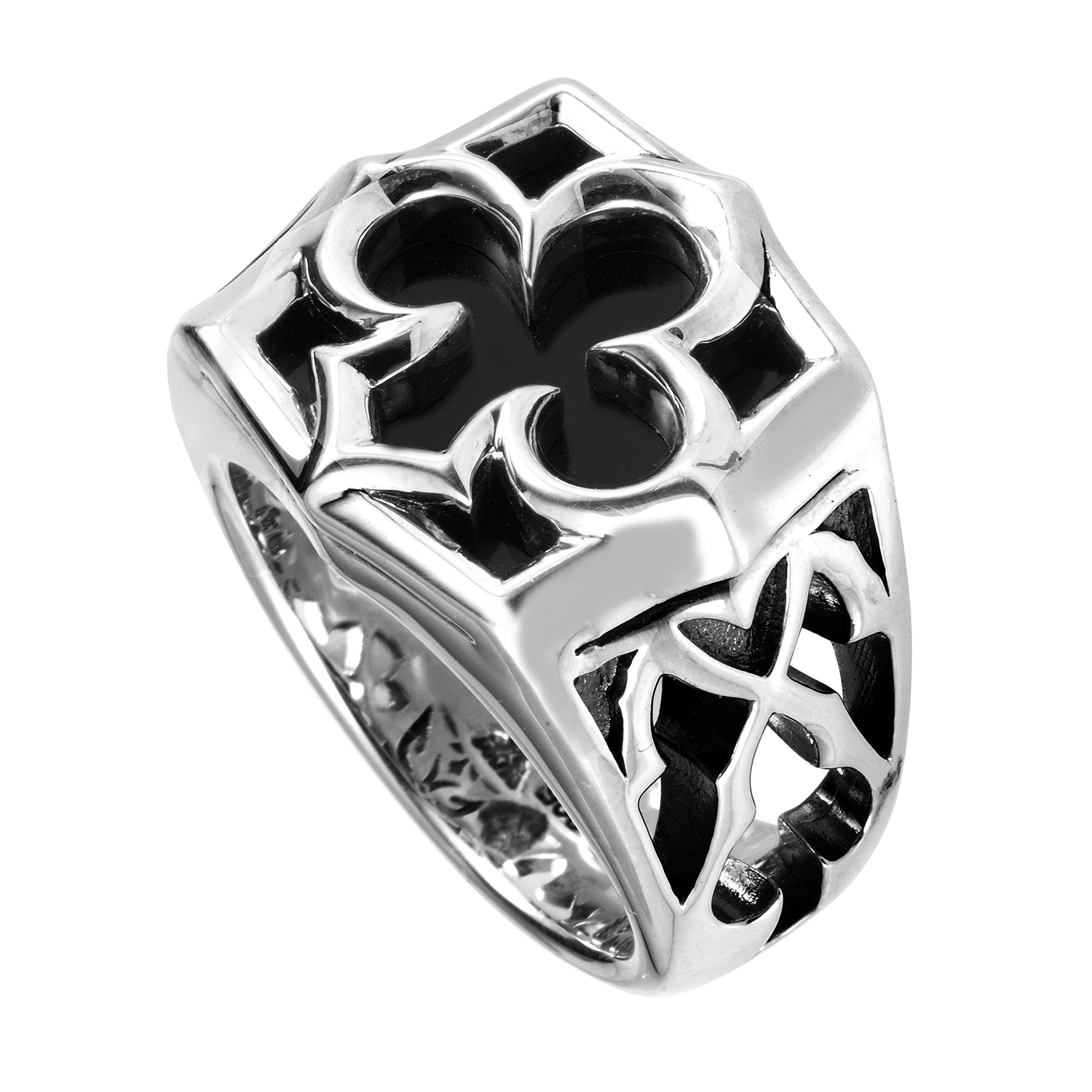 Ace of Clubs Sterling Silver Onyx Ring