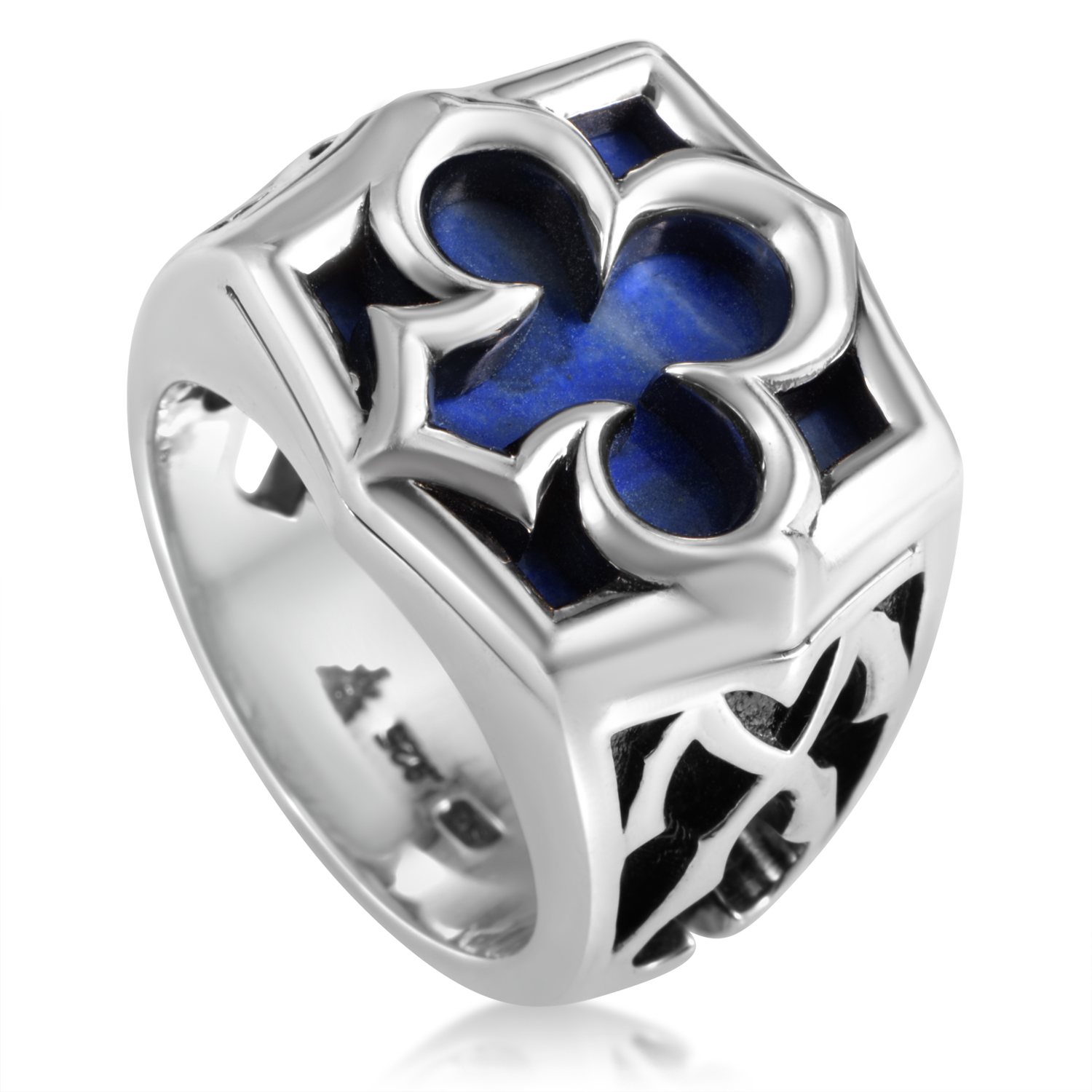 Aces Men's Sterling Silver & Lapis Engraved Ring