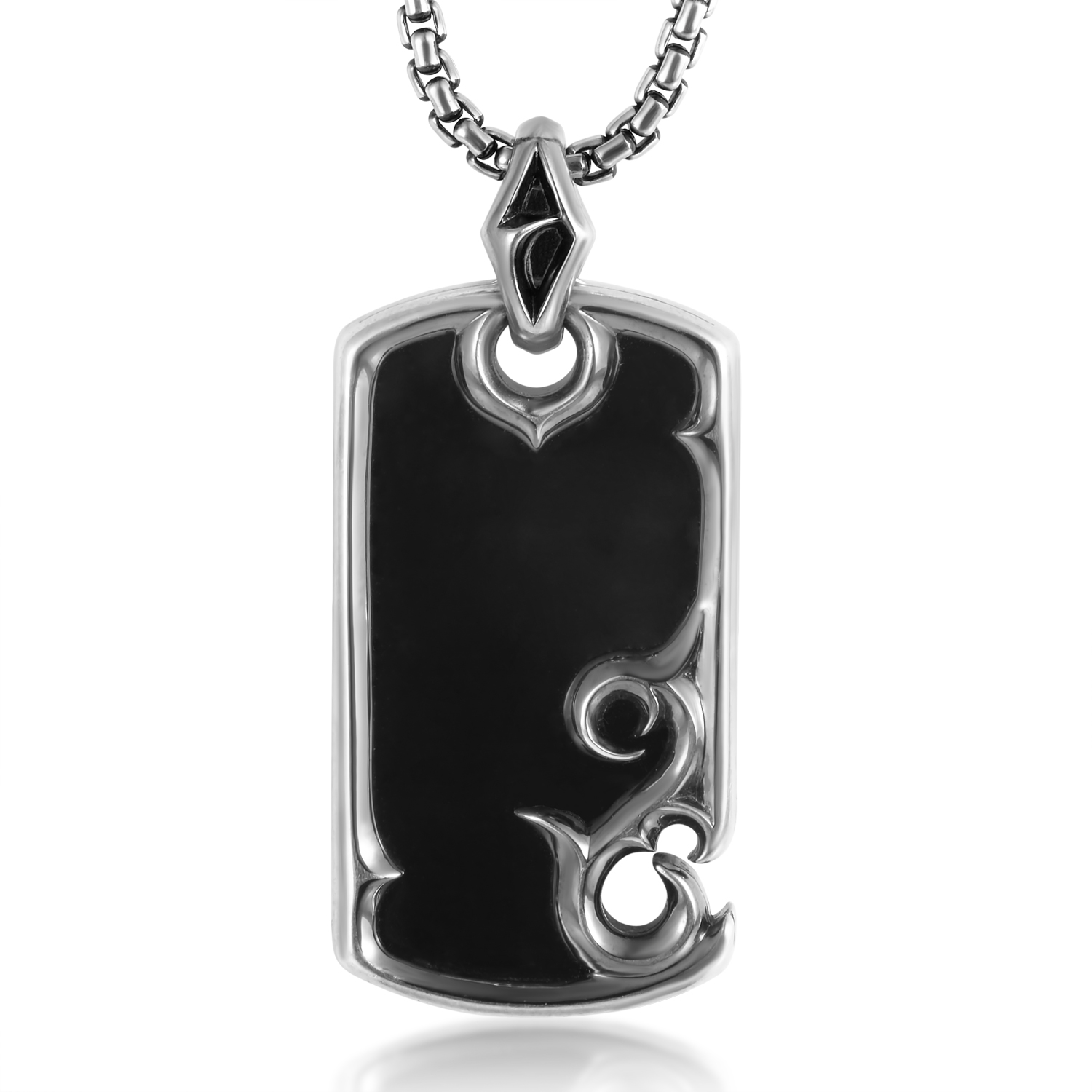Thorn Sterling Silver Onyx Dog Tag Pendant Necklace