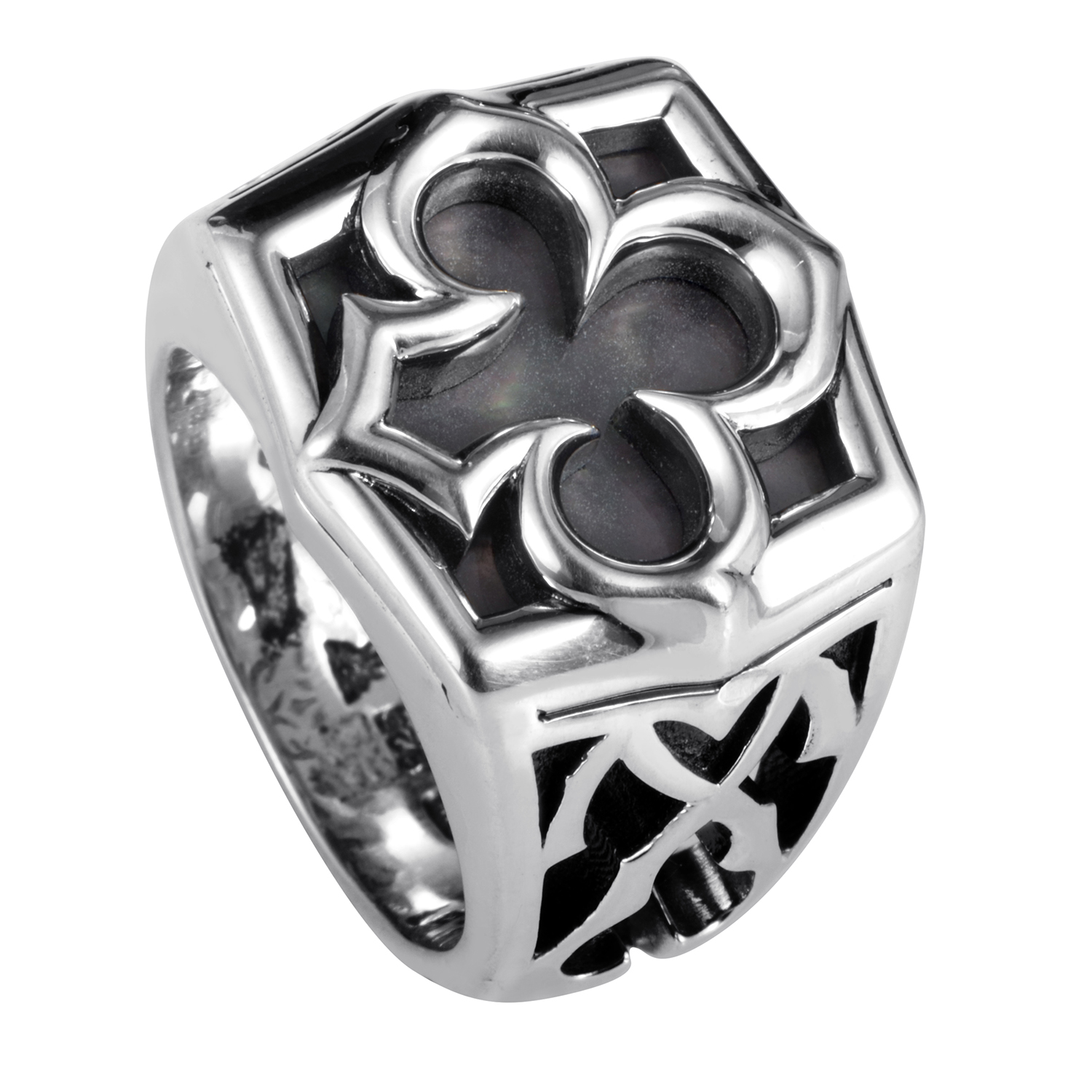 Sterling Silver Aces Black Mother of Pearl Signet Ring