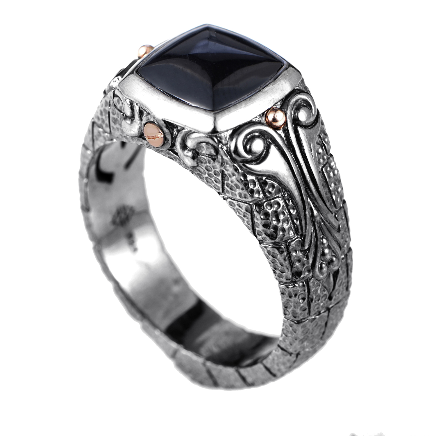 London Calling Sterling Silver Onyx Ring