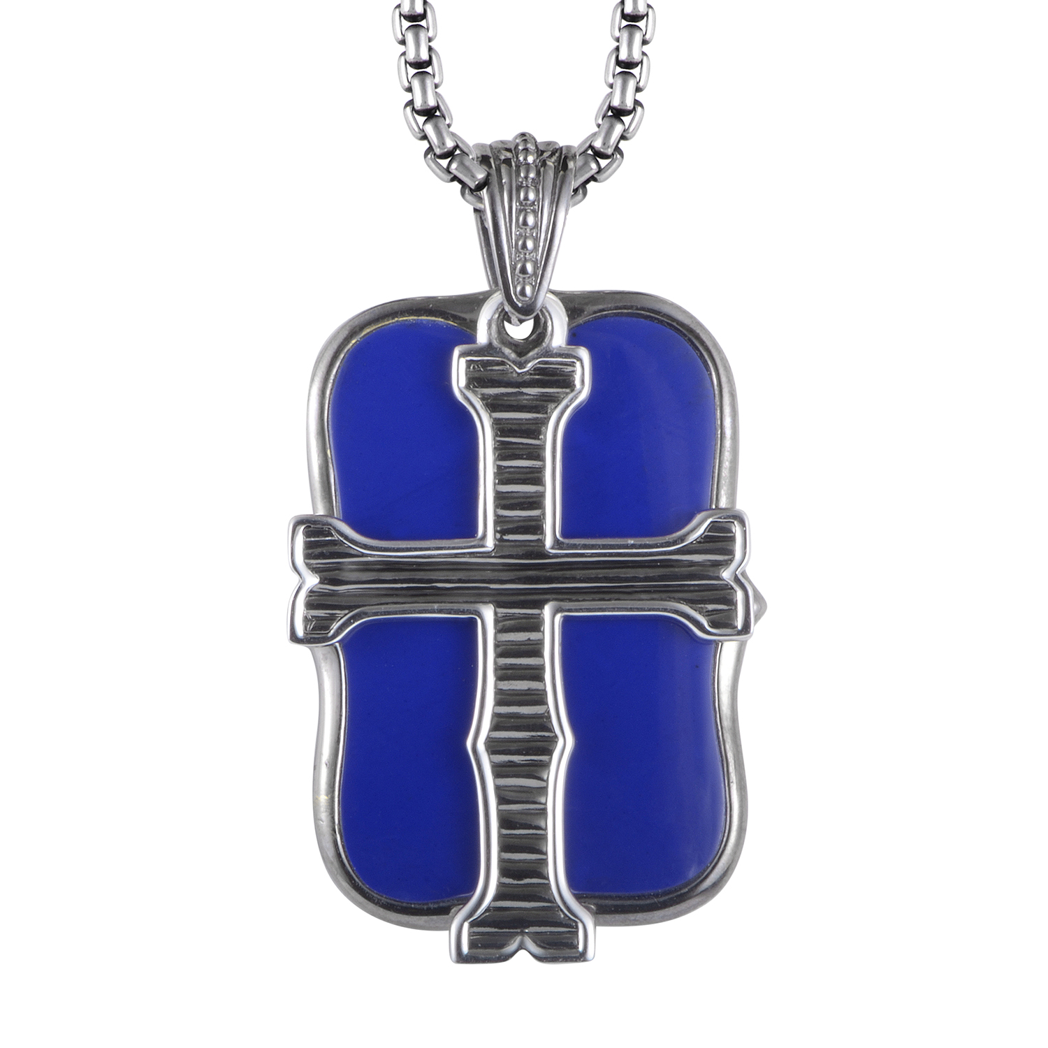 Mens Sterling Silver Lapis Dog Tag Cross Pendant Necklace