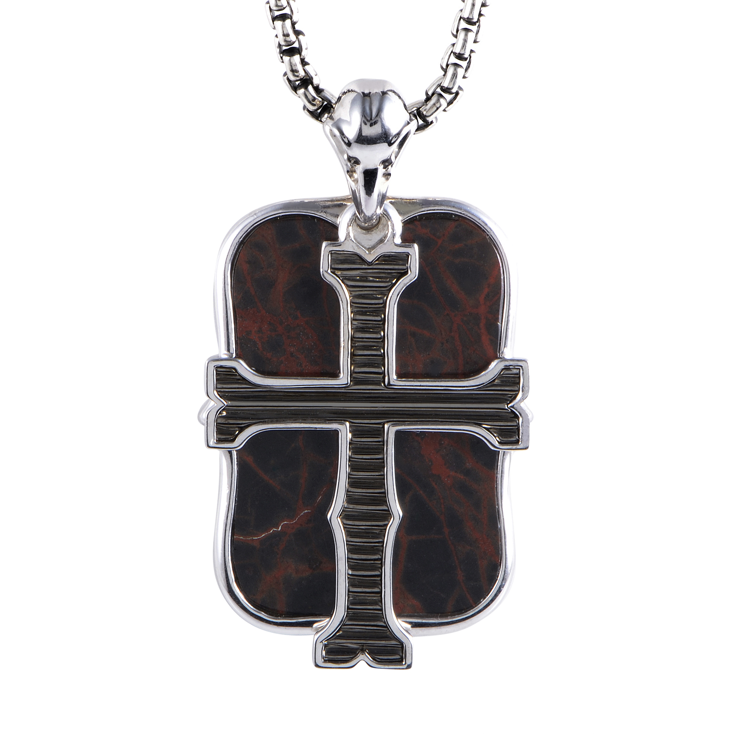 London Calling Sterling Silver Jasper Pendant Necklace