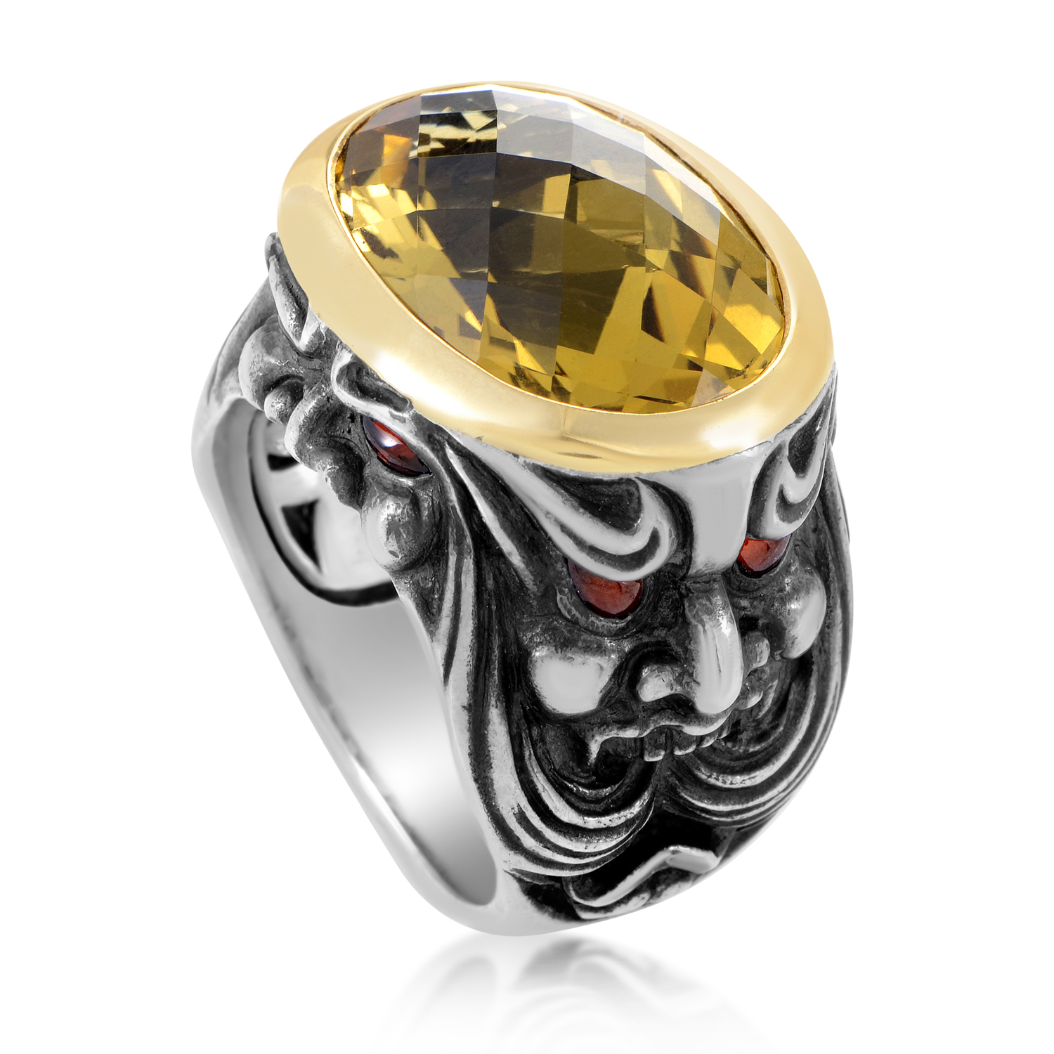 Sterling Silver & 18K Yellow Gold Beer Quartz and Garnet Gargoyle Ring