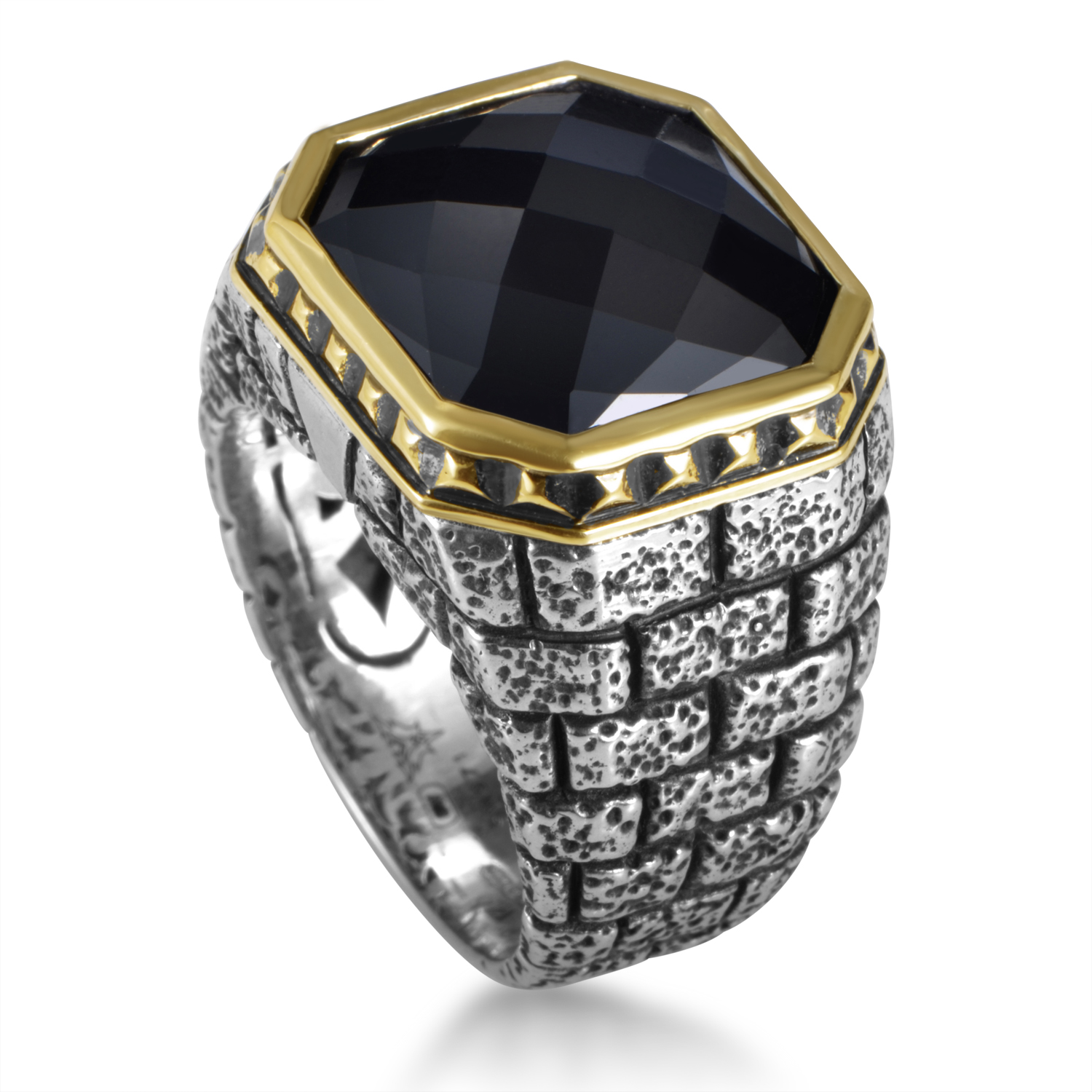 London Calling Silver & 18K Yellow Gold Onyx Ring