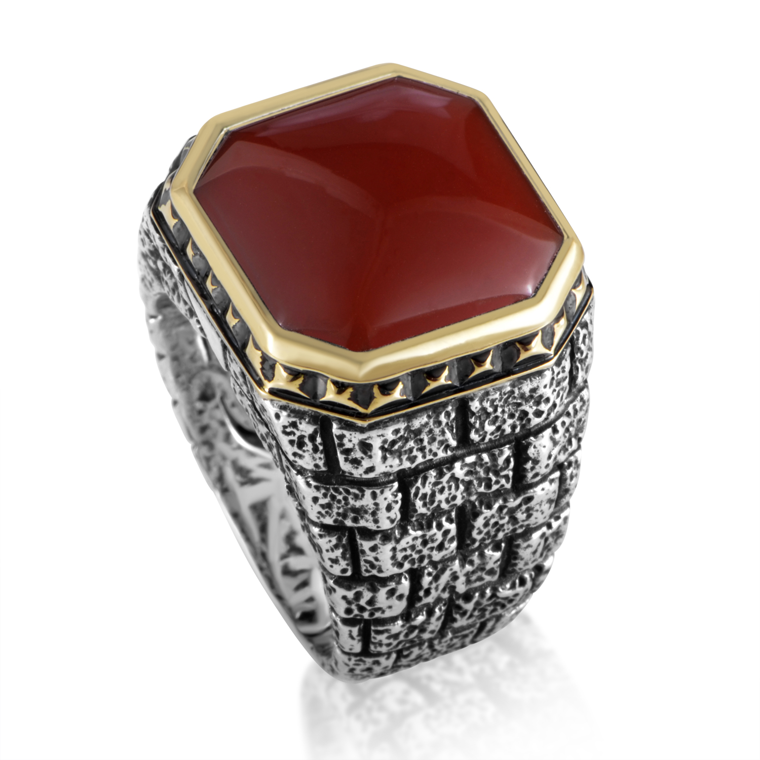 London Calling Silver & 18K Yellow Gold Red Agate Ring