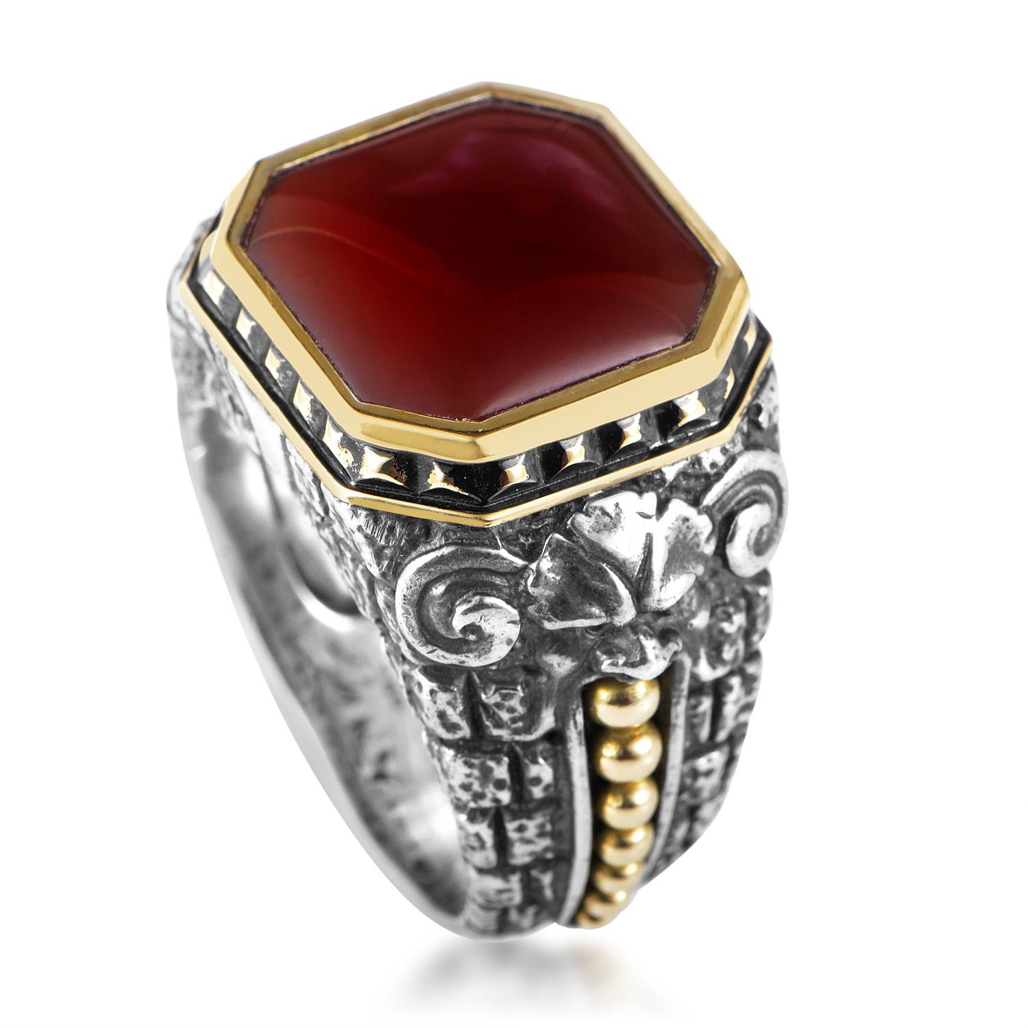 Sterling Silver & 18K Yellow Gold Red Agate Gargoyle Ring