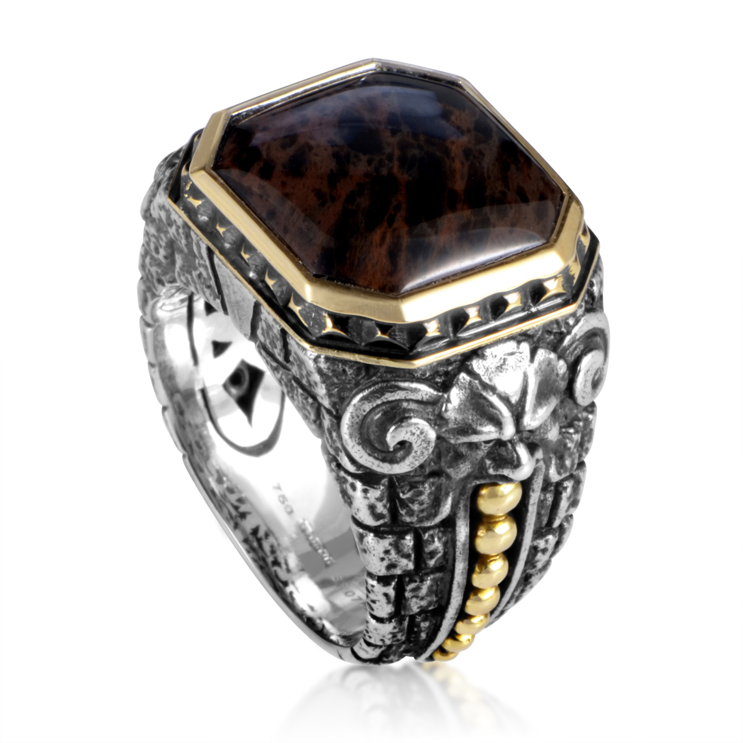 Silver & 18K Yellow Gold Spiderman Jasper Gargoyle Ring