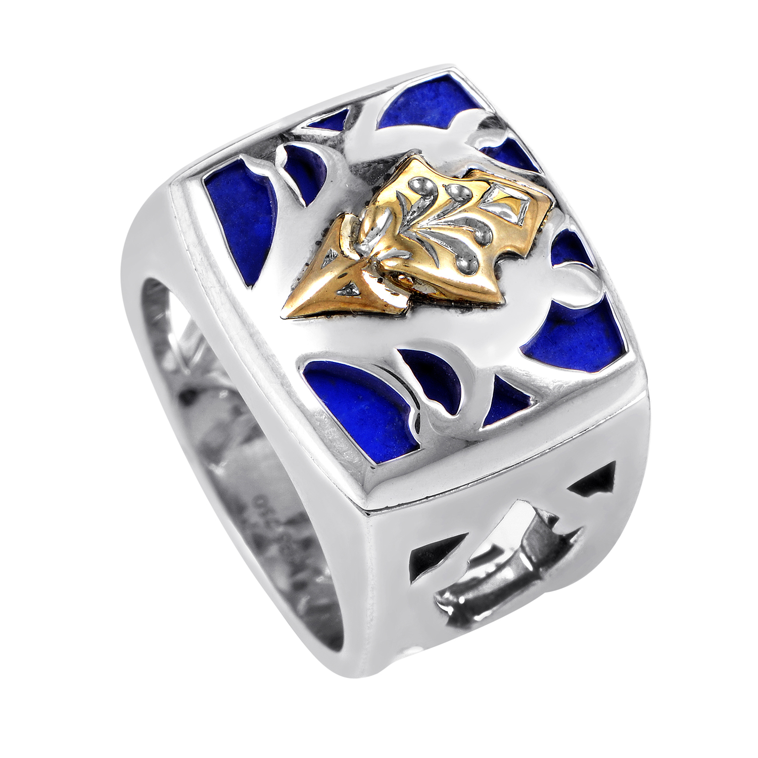 Raven Head Men's Gold-Plated Sterling Silver & Lapis Ring