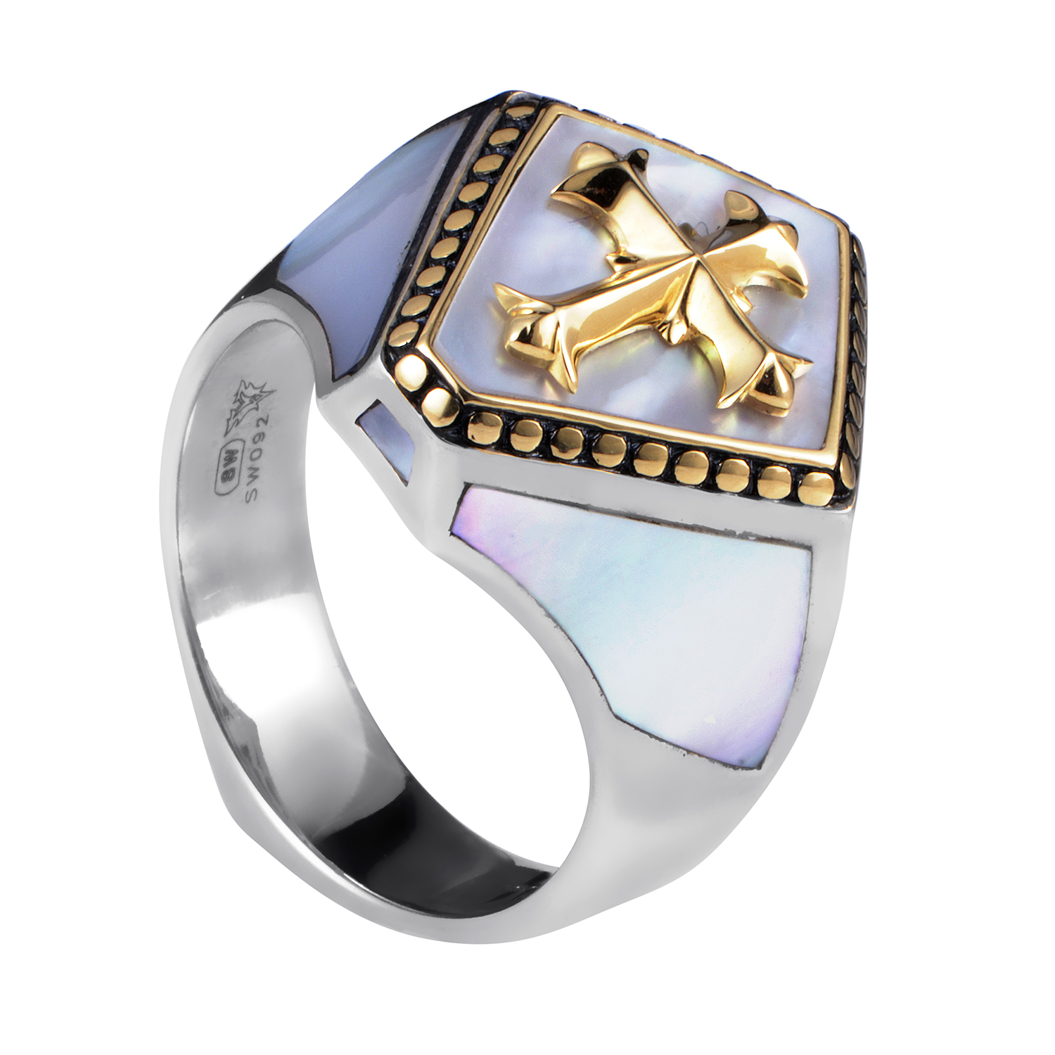 Men's Sterling Silver & Yellow Gold Mother of Pearl Signet Ring
