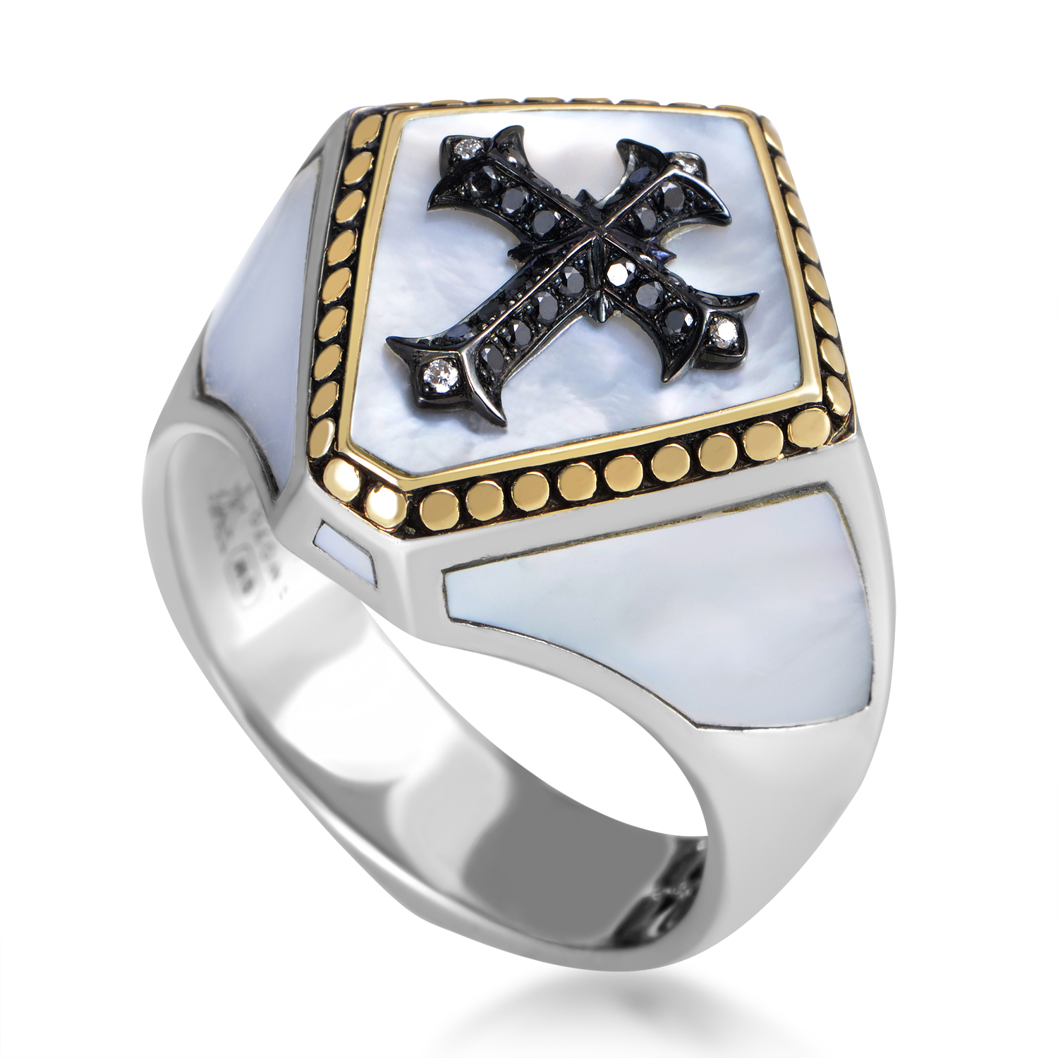 Sterling Silver Mother of Pearl & Black Diamond Shield Ring